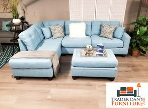 Brand New Reversible Light Blue Linen Sectional Sofa Couch + Ottoman for Sale in Silver Spring, MD