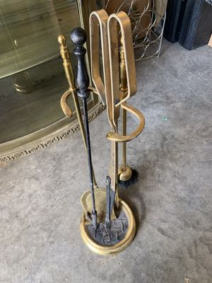 Brass fireplace tool set with black poker for Sale in Columbia, MO