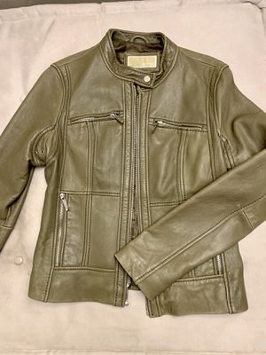 Michael Kors Leather Moto Jacket, sage green for Sale in San Diego, CA