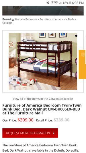 New oak walnut bunk beds, still in box. for Sale in Fresno, CA