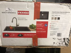 "Brand new Frank composite granite single bowl kitchen sink 33""x 22"" 9"" . Dual mount explosive built in germ fighter , ship resistant , scratch and st for Sale in Garland, TX"