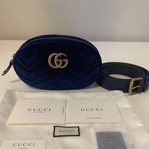 NWT Gucci GG Marmont Matelasse Blue Velvet Chevron Waist Belt Bag $1090 for Sale in Los Angeles, CA