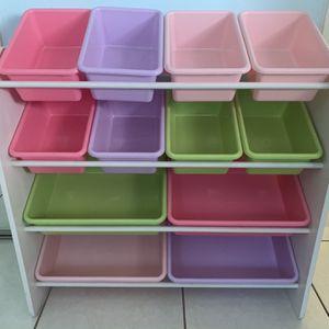 Kids Toy Storage Organizer with 12 Plastic Bins for Sale in Hollywood, FL