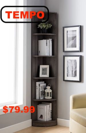 Corner Bookcase, Distressed Grey for Sale in Downey, CA
