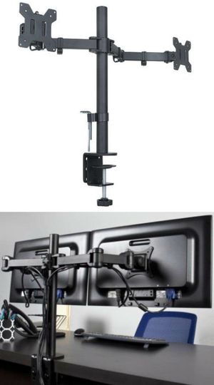 New in box 10 to 24 inches dual computer screen monitor holder stand clamp mount for Sale in Montebello, CA