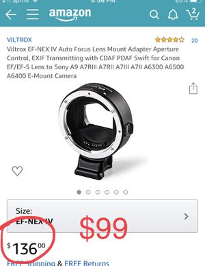 Viltrox EF-NEX IV Auto Focus Lens Mount Adapter Aperture Control, EXIF Transmitting with CDAF PDAF Swift for Canon EF/EF-S Lens to Sony A9 A7RIII A7R for Sale in Fontana, CA