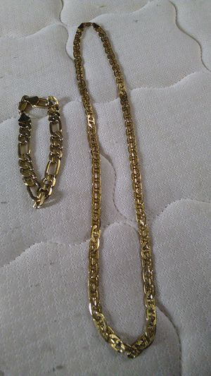 18k gold plated chain and bracelet for Sale in Trenton, NJ
