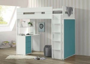 WHITE / TEAL FINISH TWIN SIZE LOFT BED STORAGE SHELVING DESK WORKSTATION for Sale in Murrieta, CA