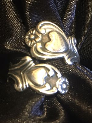 Vintage Avon Stamped Sterling Silver Spoon Ring with Two Hearts Size 7 Adjustable for Sale in Raymore, MO