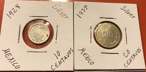 2 small Mexican silver coins for Sale in Montclair, CA