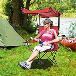 Folding Camp Chair Adults Camping Chwith Canopy Or Folding Camping Chair with Cup Holder,Portable Children's Chair for Hiking and Outdoor Eventshfpp for Sale in East Los Angeles,  CA
