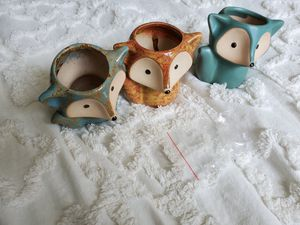 Flower Pots- trio of foxes + stoppers for Sale in Dundalk, MD