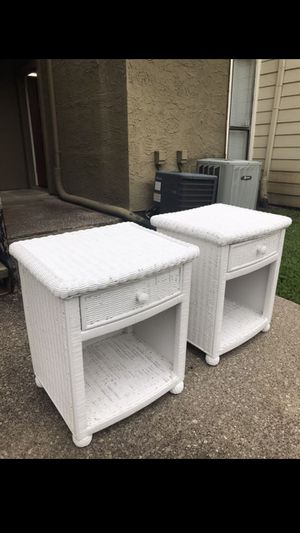 2 night stands refinished white. 21 inches ( left to right),18 (front to back), 24 inches tall. for Sale in Mesquite, TX