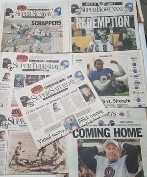 Baltimore Ravens vs New York Giants 2001 Superbowl Newspapers - price is for all of them for Sale in Riverview, FL