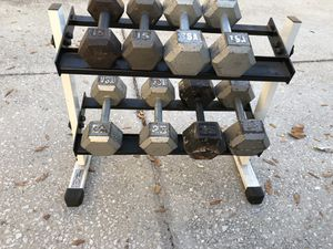 Dumbbell set with rack for Sale in Oviedo, FL