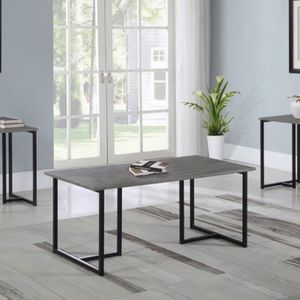 3 PC SET coffee table plus 2 end tables black metal finish coffee table end table sofa end table dining end tbak for Sale in Santa Ana, CA