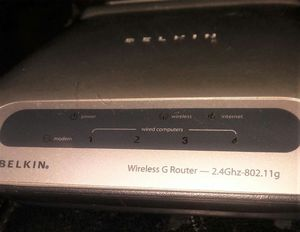 Belkin wireless G router with all connections and manual and installation CD for Sale in Grand Prairie, TX