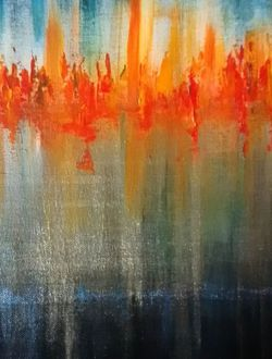 """""""Night Skyline Abstract Painting for Sale in Bothell,  WA"""