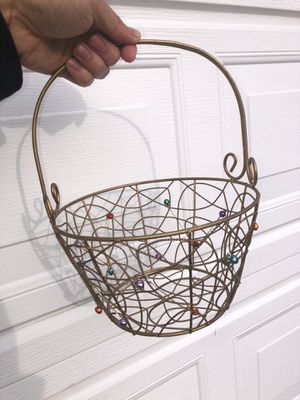 Metal Christmas basket with tiny bells for Sale in Burlingame, CA