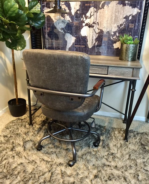 Grey Rustic one Drawer writing desk and rustic swivel task chair