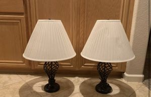 Black iron lamps with cream color shade for Sale in Tracy, CA