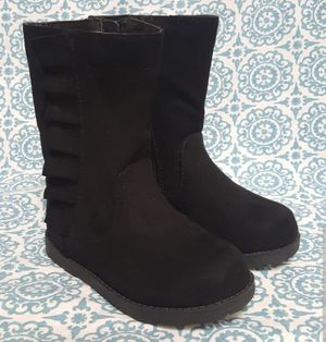 Toddler Girls Reva Ruffle Boots - Cat & Jack Black NEW WITH TAGS size 8, 9 available for Sale in Homestead, FL