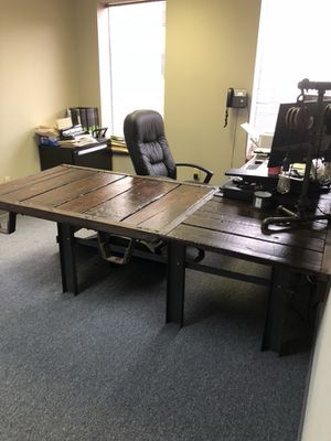 Rustic industrial L shaped desk made of pallets for Sale in Columbus, OH