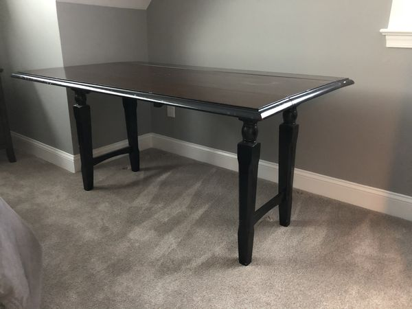 Crate and Barrel Drop Leaf Wood Kitchen Table