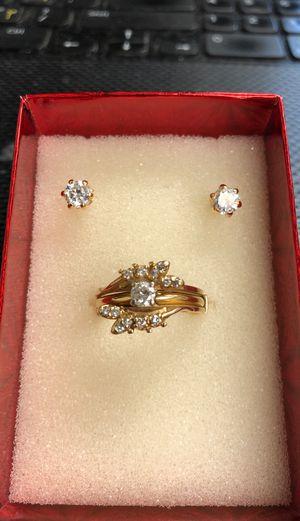 14k ring.25ct center diamond 6g 14k earrings for gift for Sale in Ewing Township, NJ