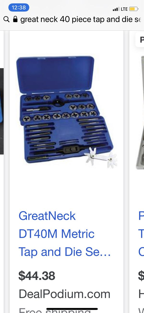 great neck 40 piece tap and die set