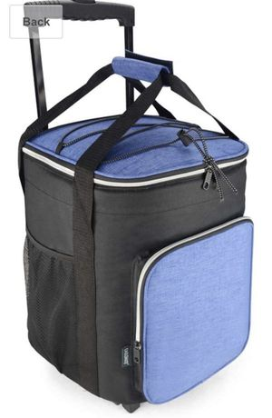 EAGLEMATE 36L Collapsible Rolling Insulated Cooler Bag Wheeled Soft Insulated Cooler Bag for Picnic, Fishing, Tailgate BBQ Beach Summer in Blue for Sale in Ontario, CA