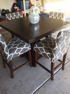 Ashley Grey patterned bar height table/chairs with table extension for Sale in Phoenix, AZ