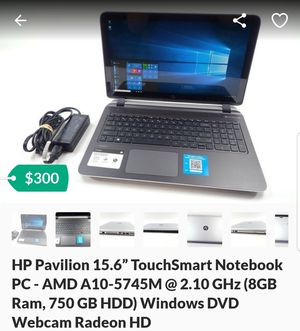"HP Pavilion 15.6"" TouchSmart Notebook PC - AMD A10-5745M @ 2.10 GHz (8GB Ram, 750 GB HDD) Windows DVD Webcam Radeon HD for Sale in Brooklyn, NY"
