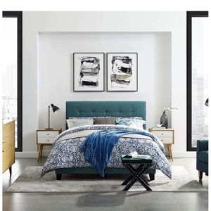 Gorgeous Teal Blue Upholstered Full Bed Frame for Sale in Columbia Station, OH