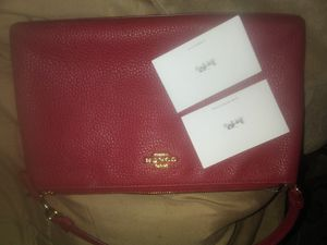 Red Coach Clutch Wallet Handbag w Strap for Sale in Sacramento, CA