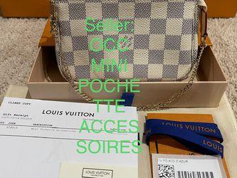 NEW AUTHENTIC LOUIS VUITTON MADE IN FRANCE 🇫🇷 PARIS LV WHITE CHECKER DAMIER AZUR BEIGE canvas MINI Pochette Accessoires 👜👛 💼 accessories DA for Sale in SeaTac,  WA