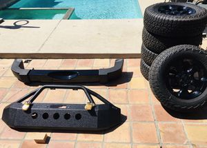 "Jeep Wrangler 32"" Tires, New DV8 Front Bumper, Custom Matching Rear Bumper for Sale in Los Angeles, CA"