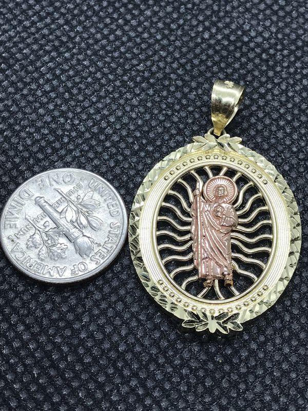 Oro Solido 10k linda Medalla de San Judas Tadea