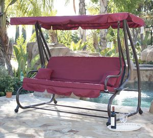 SHIPPING ONLY Burgundy Gazebo Canopy Porch Couch Swing Seat Set w/Pillows for Sale in Las Vegas, NV