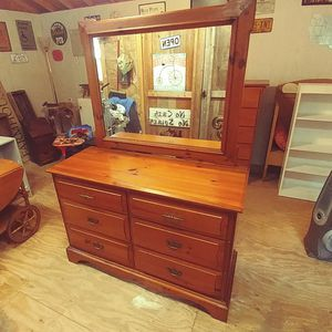 Vintage 6 Drawer Dresser with Mirror. Restained and Polished for Sale in Denver, NC