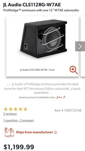 "JL Audio 12"" W7 with JLAudio pro wedge for Sale in Montebello, CA"