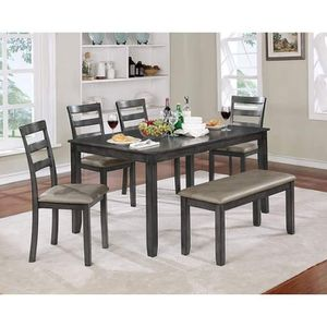 GRAY FINISH 6 PIECE DINING TABLE SET BENCH / COMEDOR MESA SILLAS BANCO for Sale in Rancho Cucamonga, CA