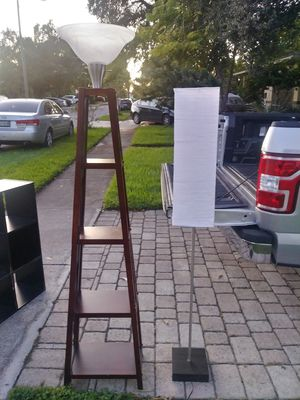 2 floor lamps from Ikea and one wood with shelves (glass broke) for Sale in Oakland Park, FL