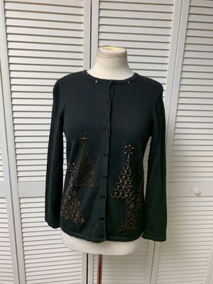 Black cardigan sweater with beaded Christmas trees for Sale in PA, US