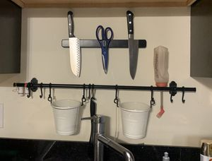 Kitchen Storage Rod, Hooks and White Containers for Sale in Portland, OR