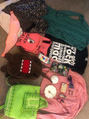 lOT girl bundle backpack purse domo shark Betsy Johnson wallet opi nail polish shirt leggings lace pink bra shark s pants rock n roll love punk bag for Sale in San Diego, CA