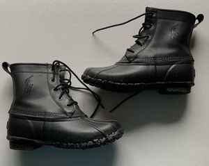 Polo Ralph Lauren Youth Boys Duck Boots Leather Rubber Boots Black Size 4 for Sale in Royal Palm Beach, FL