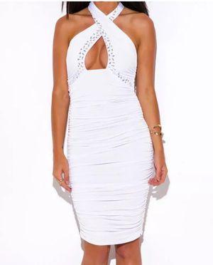 Stretchy White Bodycon dress white rhinestones for Sale in Boston, MA