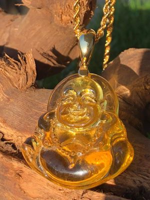 Jade laughing yellow Buddha Necklace 14k Rope gold filled chain for Sale in Evanston, IL