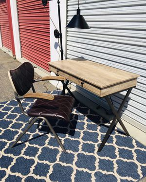 Rustic 2 drawer task desk and vintage style leather task chair for Sale in San Diego, CA
